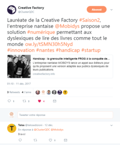 Tweet de la Creative Factory