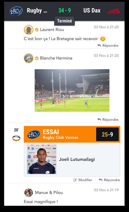 Exemple de live de match