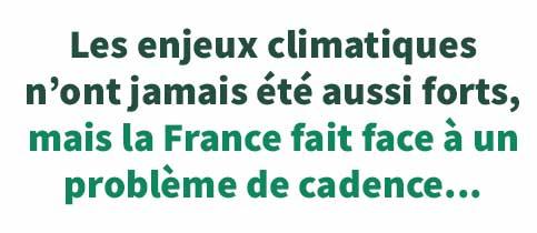 Les enjeux climatiquesn'ont jamais été aussi forts,mais la France fait face à un problème de cadence...