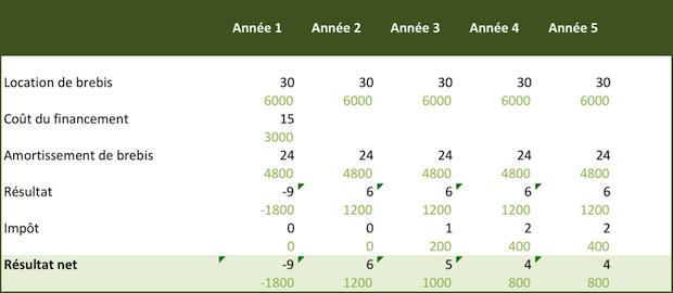Compte de résultat Brebis Milgoulle